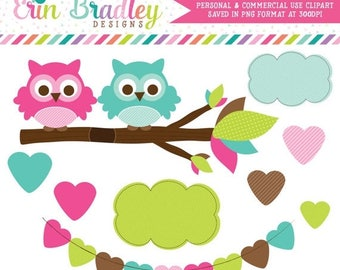 80% OFF SALE Pink and Blue Owls in a Branch Clipart Graphics Commercial Use Digital Clip Art