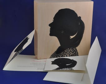 Hand painted Custom Silhouette Portraits  used for Formal Wedding Invite