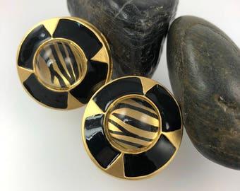 Vintage Tiger Stripe Black Gold Clip Earrings, Bold Statement Earrings, Animal Theme Earrings, Large Earrings 1960's Jewelry, Ready to Ship