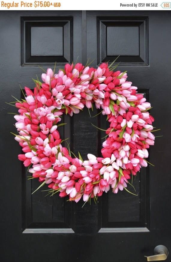 SUMMER WREATH SALE Thin Spring Tulip Wreath, Front Door Wreath, Storm Door Wreath, Spring Wreath, Silk Flower Wreath, Tulip Wreaths, Sizes 1