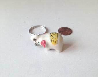 Miniature Elephant, ceramic elephant, ceramic animal, miniature animal, yellow elephant, mini, little, tiny, elephant figure, keychain
