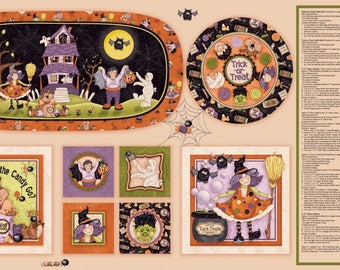 Halloween Fabric Cotton Panel, Boppity Boo by Kelly Mueller for Red Rooster Fabrics 24 x 44 inches