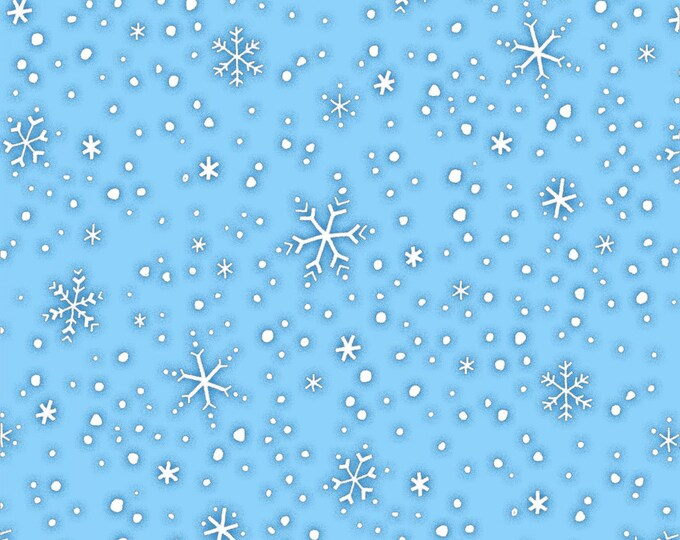 CHRISTMAS FABRIC,  North Pole Greetings Blue White Snowflakes Flannel Fabric by Studio E
