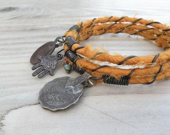Silk Road 3 Piece Bangle Stack, Silk Wrapped, Stacking Bracelets, Tribal Gypsy Jewelry, Saffron Yellow