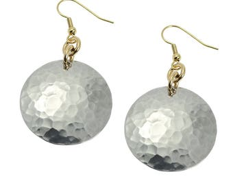 Hammered Aluminum Disc Earrings -  Aluminum Disc Drop Earrings - Silver Disc Earrings - Hypoallergenic Silver Earrings - Gifts for Her