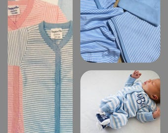 2 piece striped monogrammed baby boy gift set. Baby Boy Gift Set. 0-6 month only.