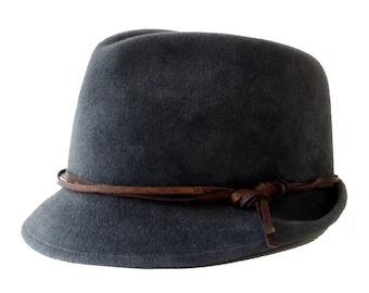 Fedora Trilby Hat Fall Fashion Grey Fedora Winter Accessories Winter Hat Men's Hat Dress Hat Narrow Brim Fedora Hat Stingy Brim Custom Hat