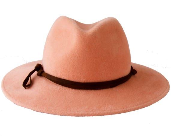 Pastel Pink Hat Women's Hat Widebrimmed Fedora Hat Pastel Peach Rose Quartz Spring Fashion Spring Accessories Women's Fedora Wide Brim
