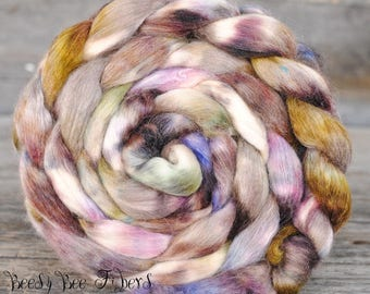 BADLANDS - Hand Dyed Merino, Soy Silk, Mohair, Nylon Wool Roving Blend Combed Top Luxury Fiber for Spinning Felting