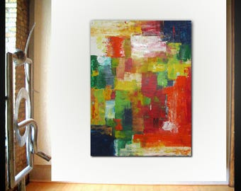 Original large abstract painting palette knife wall art deco by Elsisy 48x36 Free US shipping.