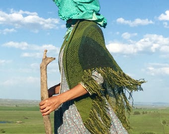 Hand woven Wool Triangular Prayer Shawl, Inspired by Psalm 23, Green Pastures, The Lord is my Shepherd, 6 foot length