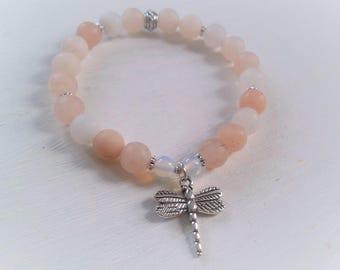 Pink Aventurine Dragonfly yoga stretch bracelet