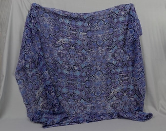 Crepe gauze fabric Purple white and blues 2 pieces 38 by 37 inches Perfect for shawls or top Polyester Selling together