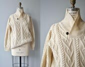 Aran cable knit sweater | vintage Irish wool shawl collar sweater | 70s fishermans sweater