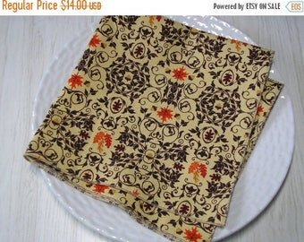 SALE Cloth Napkins Fall Leaves Scroll Acorns Brown Set of 4