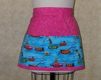 Inner tube swimmers apron deep pockets across front cellpocket lined top stitched 3 section humorous hot pink turquoise aqua cotton