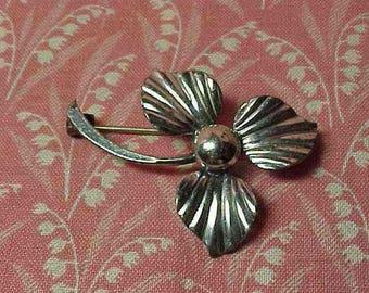 Vintage HS Hermann Siersbol Sterling Denmark Flower Brooch pin