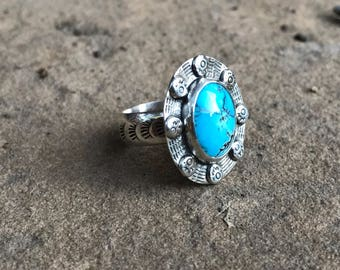Oval Turquoise sterling silver statement ring