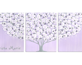 Custom Name Inscription on Gray and Purple Nursery Tree Wall Art - Textured Painting on Canvas Triptych - Large 50X20