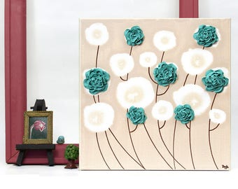 Teal Wall Decor, Small Canvas Art, Textured Acrylic Painting with Hand Sculpted Roses, Teal Wall Flowers - Select a Size