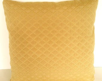 "16"" x 16"" Matelasse Throw Pillow Cover Mustard Yellow Diamond Design Decorative Accent French Country Cottage"