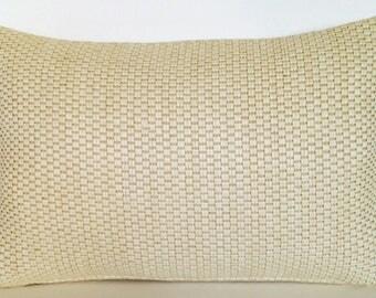 "17.5"" x 11.75"" Lumbar Throw Pillow Cover Rattan Grass Weave Ivory Linen Tropical Island Nautical Beach Decorative Ocean Rustic"