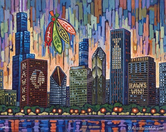 Chicago Blackhawks art print, Chicago Hockey, Blackhawks Skyline, Stanley Cup, Go Hawks, Chicago Sports, 8x10, by Anastasia Mak
