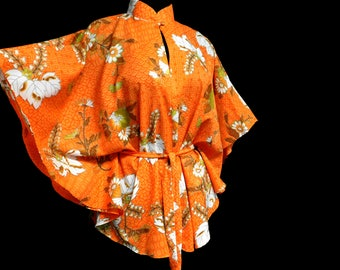 Vintage 70s Orange Batwing Top Hawaiian Geometric Floral Summer Mod Hippie Festival Luau Party S Small M Medium