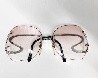 Vintage 70s Sunglasses Eyewear Frames Silver Wavy Drop Temple Rimless Oversized Disco Glam Retro Eyeglasses