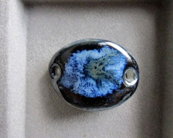 BLUES and more blues, Layers of Glaze Porcelain Curved Bracelet Elements, Link, Bracelet Link, Bracelet components. Art Bead