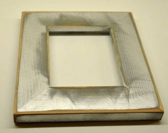 Rustic Silver Frame Solid Wood with Glass, Backing and Mounting Hardware