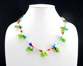 Necklace Murano Italian Glass Birds Beads Venetian