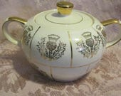 Vintage Heatmaster Thistle Sugar Bowl With Lid Scottish Thistle Lidded Sugar Bowl Made In England Vintage Wedding China 1950s 50s RARE
