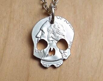 Skull Necklace Jewelry, Skull Pendant, Skull Keyring, Cut Coin, Cut Coin Art, Coin Art, Skull Coin Necklace, Skeleton Coin, Day Of The Dead