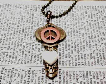 Love and Peace: Embellished Trinket Key Pendant Necklace