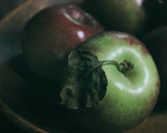 Orchard's Bounty. Rustic Kitchen Art Apple Foodie Wall Decor Photography Print.