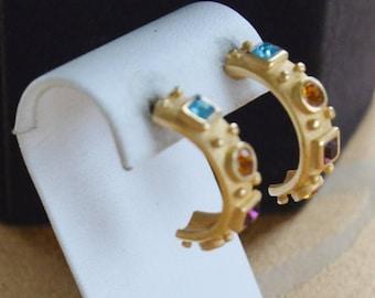 On sale Pretty Vintage Multi-Colored Crystal Stone Brushed Gold Half Hoop Pierced Earrings (S15)