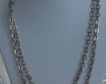 """ON SALE Long Silver Chain Link Necklace, Vintage, 48"""" (Z1)"""