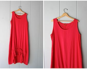 Red Cotton Gauze Dress Vintage 90s Basic Sun Dress Simple Maxi Dress Sleeveless Summer Tank Dress Oversized Minimal Dress Womens XL Large