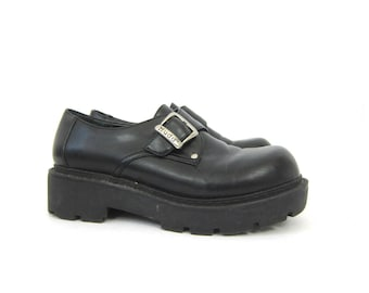 Chunky Black Creepers Silver Buckle Shoes Black Platform Shoes Modern Rockabilly Grunge Punk  Womens Shoes size 9