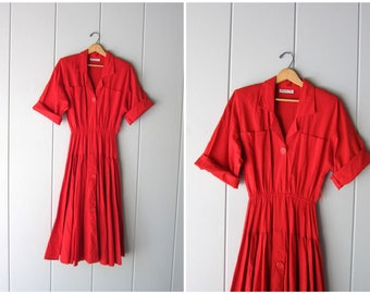 Red 50s 80s Dress Pin Up Red Cotton Swing Dress 50s Cotton Dress Midi Dress High Waist Quarter Sleeve Day Dress Vintage Womens Medium