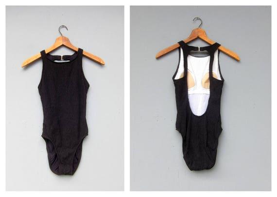 Black Jantzen Swimsuit Vintage One Piece Swimming Suit High Rise Textured Black Bathing Skirt Open Back Resort Wear Women's 8 Medium