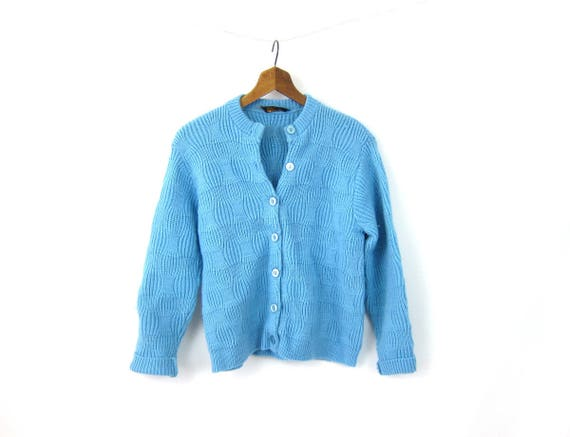 Vintage 50s Knit Sweater Blue Textured Button Up Cardigan Sweater Soft Knit Sweater Top Minimal 1950s Womens Medium