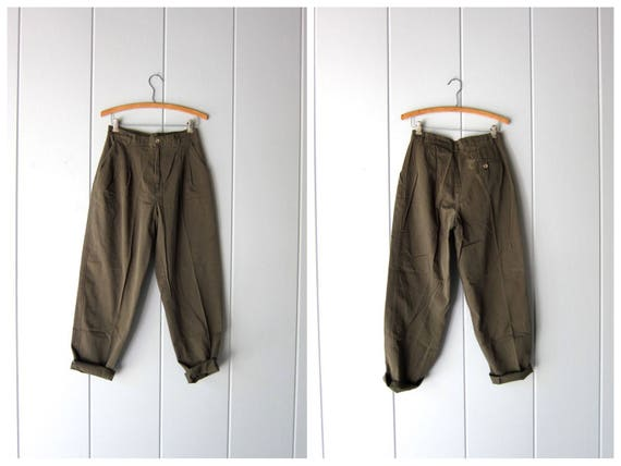 "80s Army Green Pants Vintage High Waist Cotton Pants Minimal Pleated Womens Trousers Tapered Pants Modern Basic Pants Womens 6 / 28"" waist"
