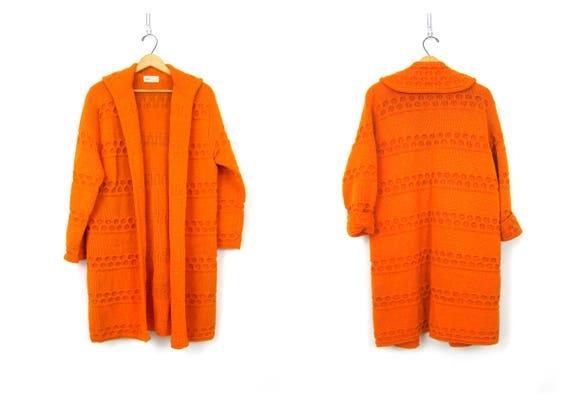 Long ORANGE Wool Knit Cardigan MOD Sweater Coat  Wool 60s Retro Knitwear Jacket Sweater Open Fit Oversized Trench Cardigan Women's Medium