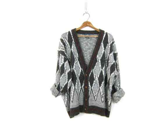 Vintage 80s Charcoal Gray and White Sweater Slouchy Retro Cardigan Boyfriend Button Up Abstract Sweater Top Vintage Hipster Men's Size 1X