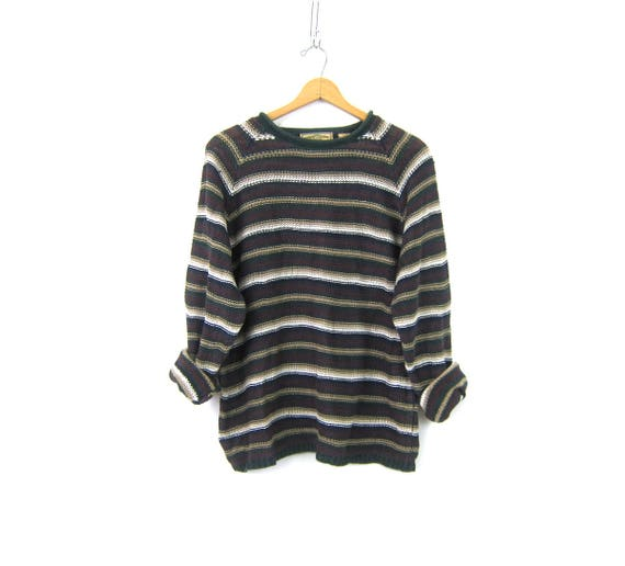 Long Loose Knit Sweater 90s Ramie Cotton Pullover Sweater Green & Purple Striped Preppy Sweater Womens Size Large