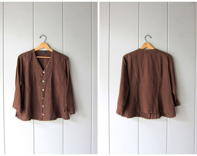 Dark Brown Linen Blouse Cropped Minimal Top Button Up Long Sleeve BOXY Embroidered Linen 90s Top Modern Basic Top Vintage Womens Large