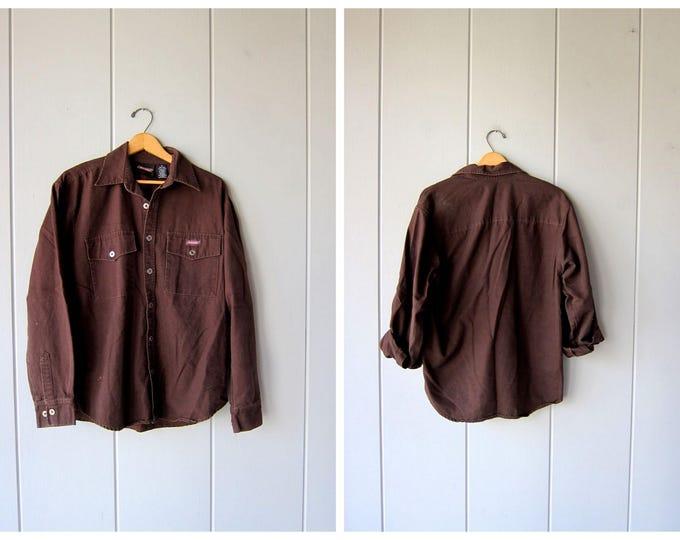 Vintage Jean Work Shirt DICKIES Button Up Boyfriend Shirt Oversized Dark Brown Denim Shirt Slouchy Distressed Cotton Shirt Mens Medium
