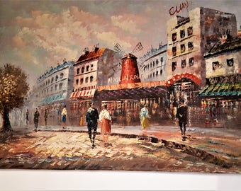 """Impressionist Painting of the famous Theme by French Art Signed Cuny 24"""" X 36"""" Paris Street Oil on Canvas"""